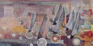 Acrylic and mixed media on board, 24x48