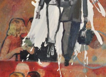 acrylic and paper collage on board with resin, 48x24