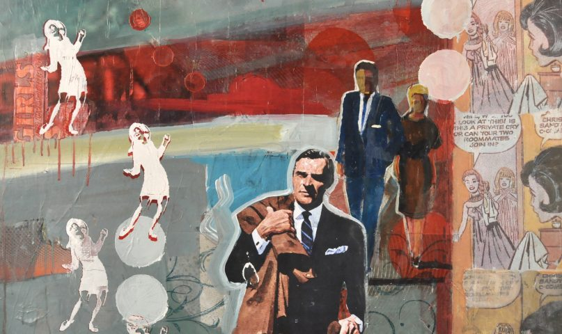 vintage art style painting of 1950s comics and men that are wandering and looking for fun