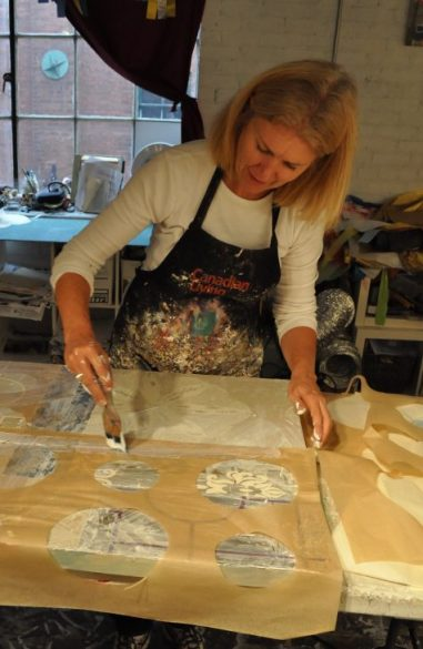 the business of art is first making the work. In the studio making a piece of art.