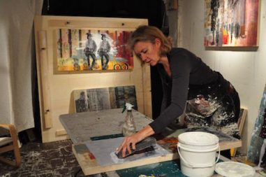 the business of art starts with making a piece. The process of making art in the studio by marjolyn van der Hart