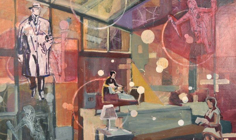 Handmade painting showing the Home of the mid century sets the story of memory and identity.