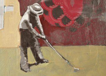 golfer about to take a shot