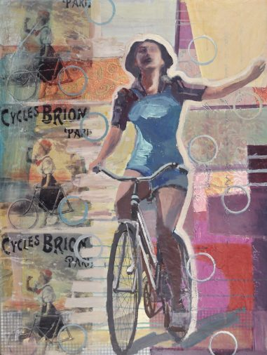 Escape with a Cyclist rising up with a French Poster collaged in image