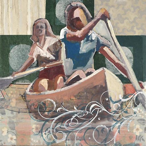 Two women paddling a canoe.