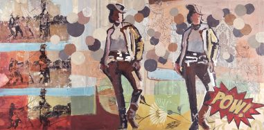 Cowgirls in a sassy stance with a pop art feel.