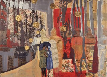 A couple walking arm in arm collaged within hand written letters and collaged paper.