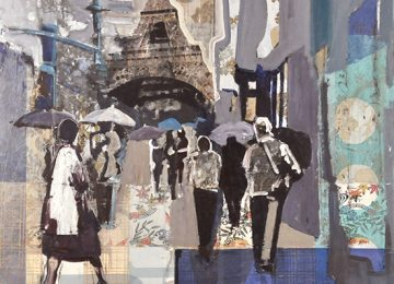 Eiffel tower set within a paper collage.