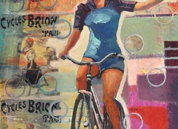 Woman on a bike from the 1940s brings to mind strength and power.