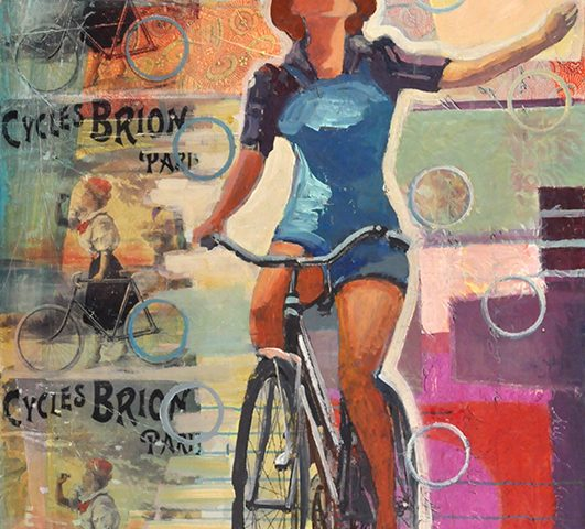 Finding her voice as seen with a Woman on a bike from the 1940s brings to mind strength and power.