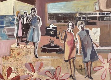 the meaning of the materials in making of this image. Fabric patterns, flowered paper and dancing girls create an image of cocktail party with the girl's dancing in a mid century home.