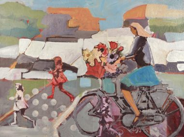 woman on bike with a running girl expressing the freedom and vitality of the day. Layers of paper and paint creates the textures