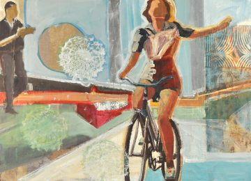 woman on a bike riding free and watched and adored from the distance.