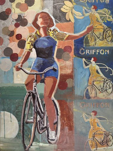 A woman bikes with a romantic light about her.