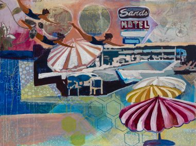 remember to experience art, pool, midcentury, woman diving, motel