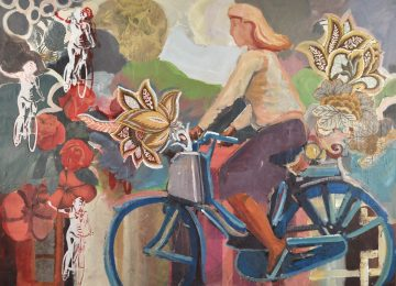 bike riding girl with vintage flowers surrounding her ride