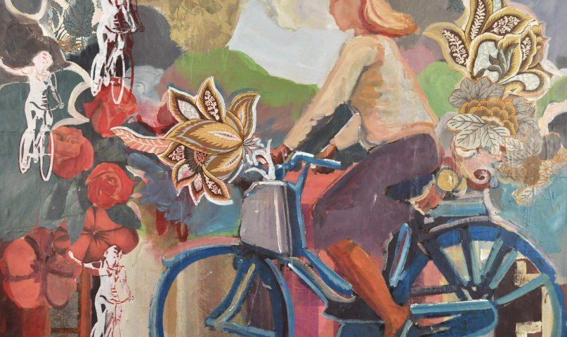 surround yourself with the good by having the happy image of a bike riding girl with vintage flowers surrounding her ride