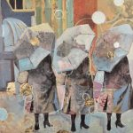 Sounds of everyday life on a rainy day. Three ladies walking with gold bubbles.