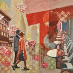 digital work in the piece creates ideas are the most important piece of this piece of the couple walking amongst a cafe