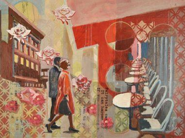 couple walking amongst a cafe