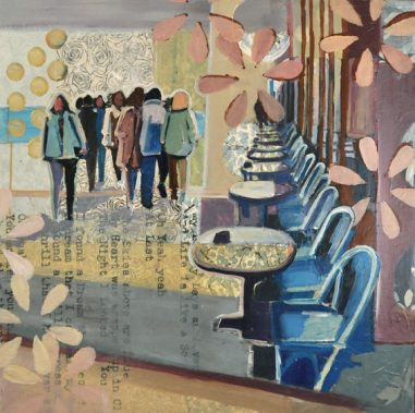 cafe with figures walking. Lyrics embedded into the piece