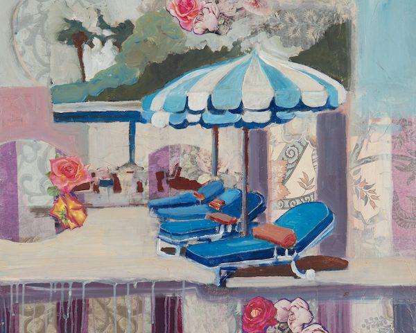 place to escape, umbrellas by a pool reminds us of a mid century party place