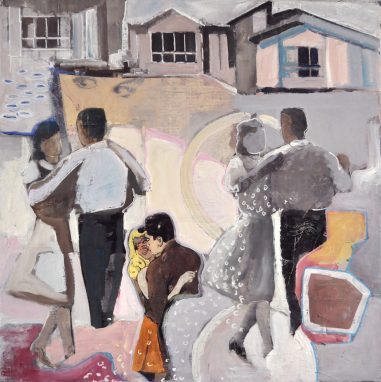 Love and happiness celebrated. Dancing couples celebrating in front of a house.