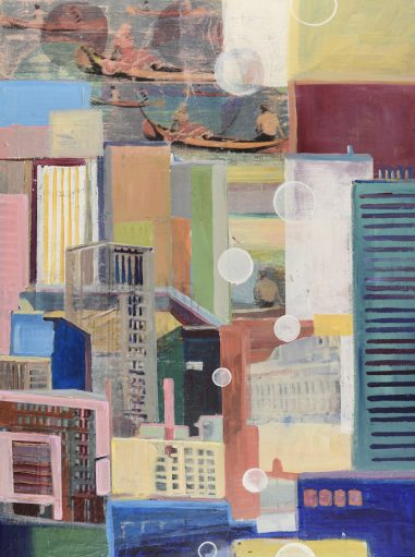 abstract city with bright colours. Canoe in the distance.