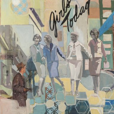 Four women walking with laughter