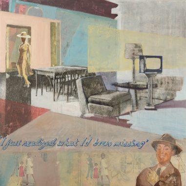 living room with woman in door