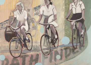 Lightness of life. Four women riding their bikes.