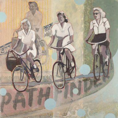 Lightness of life. Four women riding their bikes.