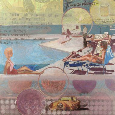 postcard of Ladies by the pool