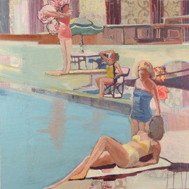 Ladies sitting by the pool