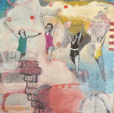 jumping women chasing the sky