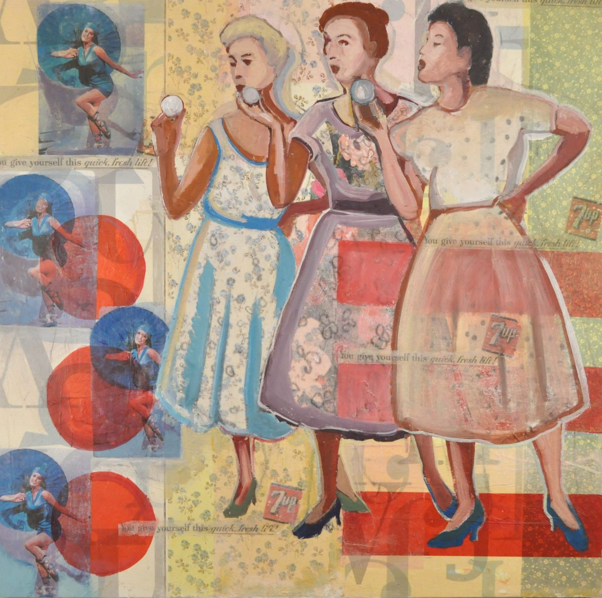 three ladies chatting and blowing bubbles