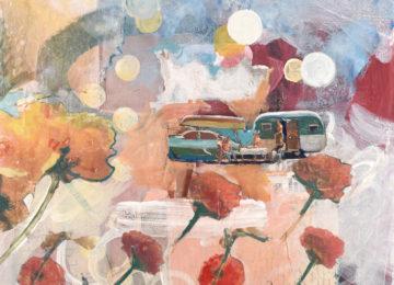 camper trailer amidst big flowers