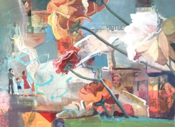 collage art giant flowers growing