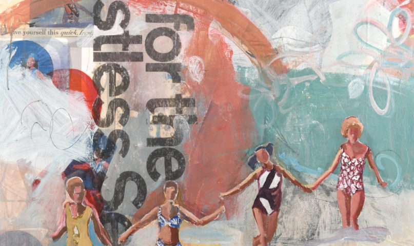 empowered art with women running in the surf