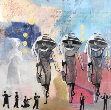 three ladies walking inspired by Audrey Hepburn